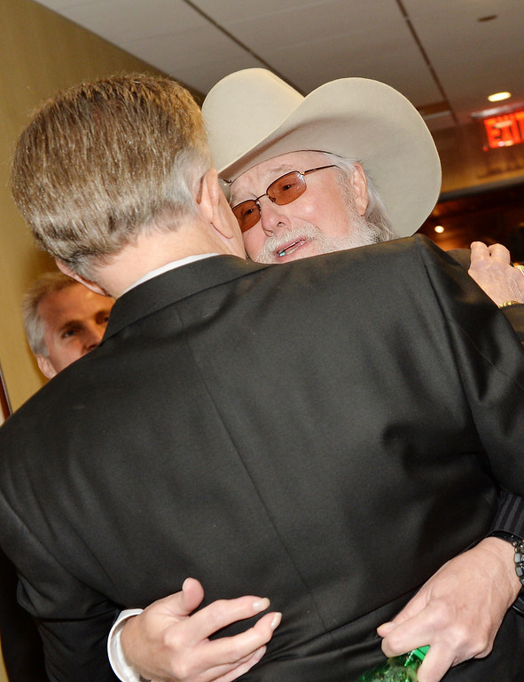 . Country musicians Whispering Bill Anderson (L) and Charlie Daniels attend the funeral service for George Jones at The Grand Ole Opry on May 2, 2013 in Nashville, Tennessee. (Photo by Rick Diamond/Getty Images for GJ Memorial)
