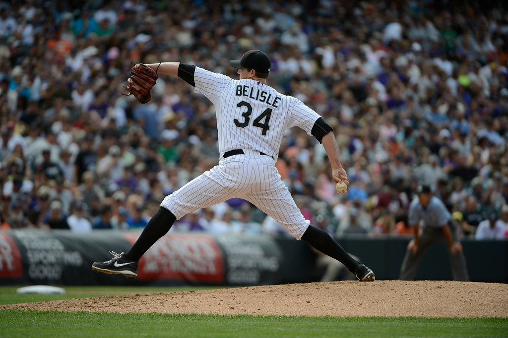 . DENVER, CO - JUNE 27: Colorado Rockies pitcher, Matt Belisle, pitching against the San Francisco Giants at Coors Field Saturday afternoon, June 29, 2013. (Photo By Andy Cross/The Denver Post)