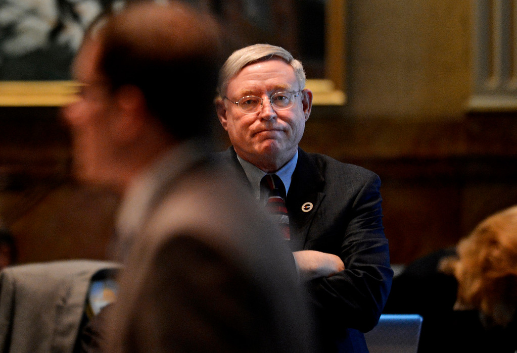 . Rep. Bob Gardner, R-Colorado Springs, listens to Speaker Mark Ferrandino, D-Denver, during debates March 11, 2013, on Senate Bill 11, which would allow same sex couples to form civil unions. Last year, Democrats had the votes to pass the bill, but Republicans stalled to call it up for debate.