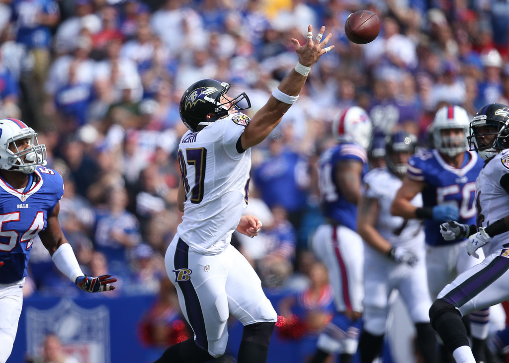 . ORCHARD PARK, NY - SEPTEMBER 29: Dallas Clark #87 of the Baltimore Ravens cannot haul in a pass during NFL game action against the Buffalo Bills at Ralph Wilson Stadium on September 29, 2013 in Orchard Park, New York. (Photo by Tom Szczerbowski/Getty Images)