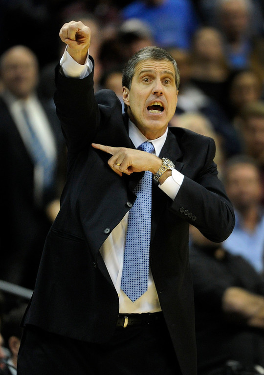 . DENVER, CO - JANUARY 18: Washington coach Randy Wittman directed his players in the fourth quarter. The Washington Wizards defeated the Denver Nuggets 112-108 at the Pepsi Center Friday night, January 18, 2013. Karl Gehring/The Denver Post