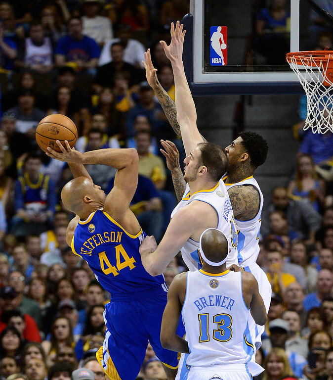 . Golden State Warriors small forward Richard Jefferson (44) puts up a shot while defended by Denver Nuggets center Kosta Koufos (41) and Denver Nuggets shooting guard Wilson Chandler (21). The Denver Nuggets took on the Golden State Warriors in Game 5 of the Western Conference First Round Series at the Pepsi Center in Denver, Colo. on April 30, 2013. (Photo by AAron Ontiveroz/The Denver Post)