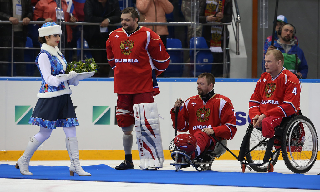 . Silver medal winning Russian national team players attend the awarding ceremony after the Ice Sledge Hockey final match Russia vs USA at Sochi 2014 Paralympic Games, Russia, 15 March 2014.  EPA/SERGEI CHIRIKOV