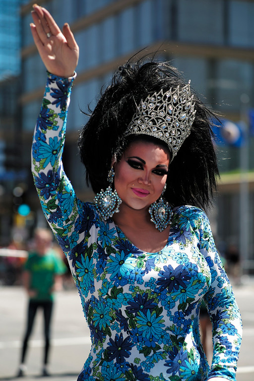 . Violet, a 2014 reigning pageant queen, poses for a photo at the 2014 Ashley Rukes GLBT Pride Parade in downtown Minneapolis on Sunday, June 29, 2014. (AP Photo/Minneapolis Star Tribune, Richard Tsong-Taatarii)