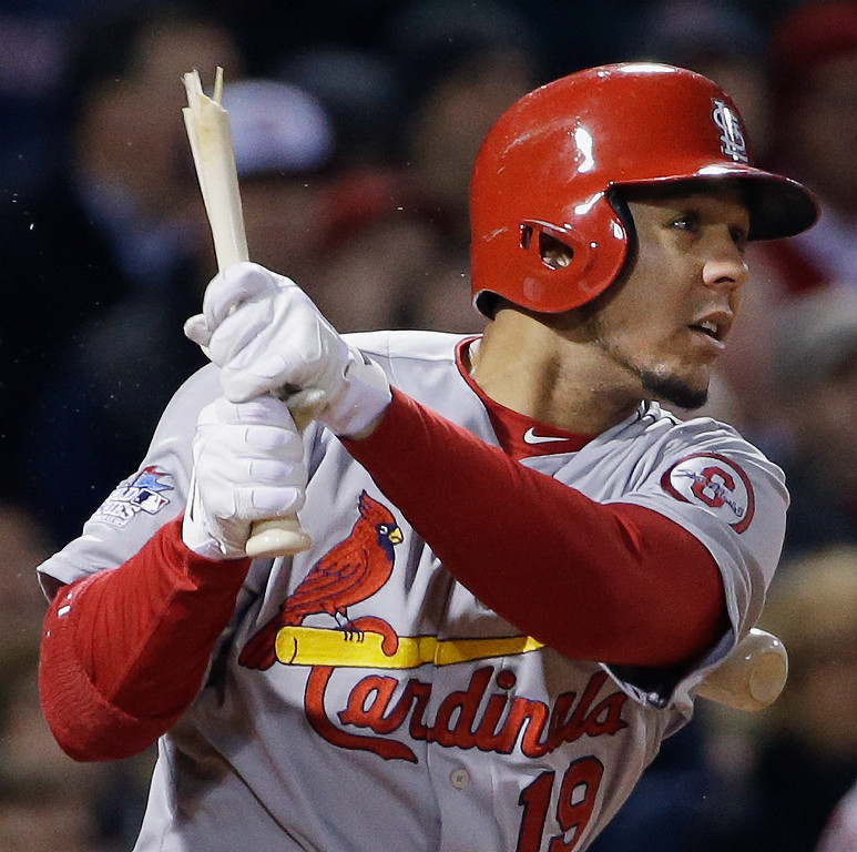 . St. Louis Cardinals\' Jon Jay breaks his bat as he grounds out during the fifth inning of Game 2 of baseball\'s World Series against the Boston Red Sox Thursday, Oct. 24, 2013, in Boston. (AP Photo/David J. Phillip)