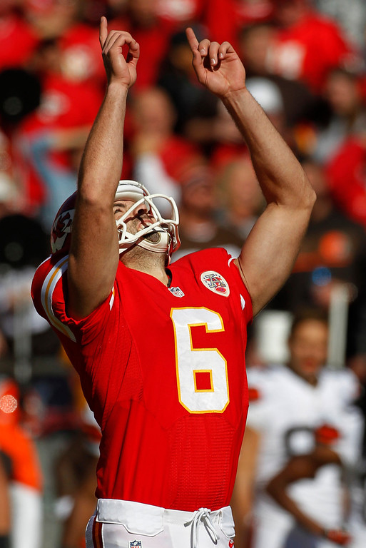 . Kansas City Chiefs kicker Ryan Succop (6) celebrates his second field goal during the first half of an NFL football game against the Cleveland Browns in Kansas City, Mo., Sunday, Oct. 27, 2013. (AP Photo/Colin E. Braley)