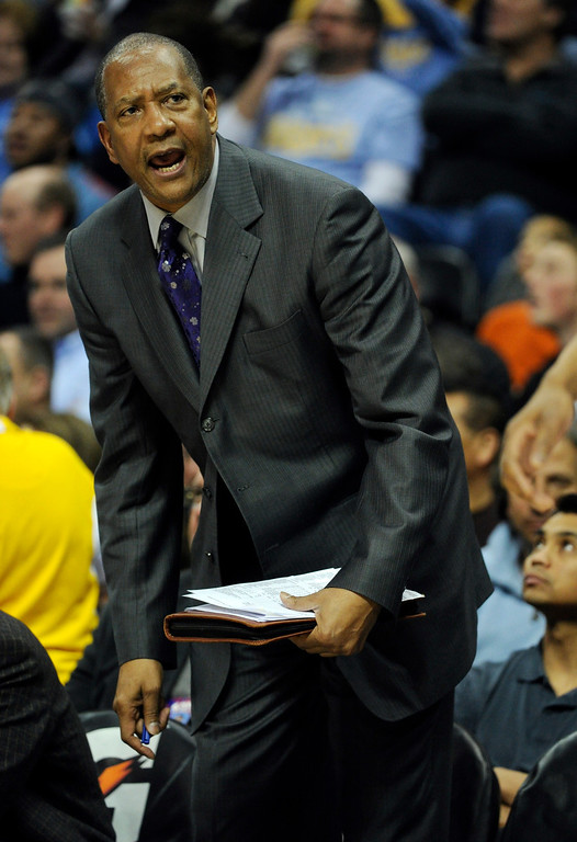 . DENVER, CO. - MARCH 22: Sacramento assistant coach Alex English complained about a call in the second half. The Denver Nuggets defeated the Sacramento Kings 101-95 Saturday night, March 23, 2013 at the Pepsi Center. The Nuggets extended its longest winning streak since joining the NBA to 15 games with the win over the Kings. (Photo By Karl Gehring/The Denver Post)