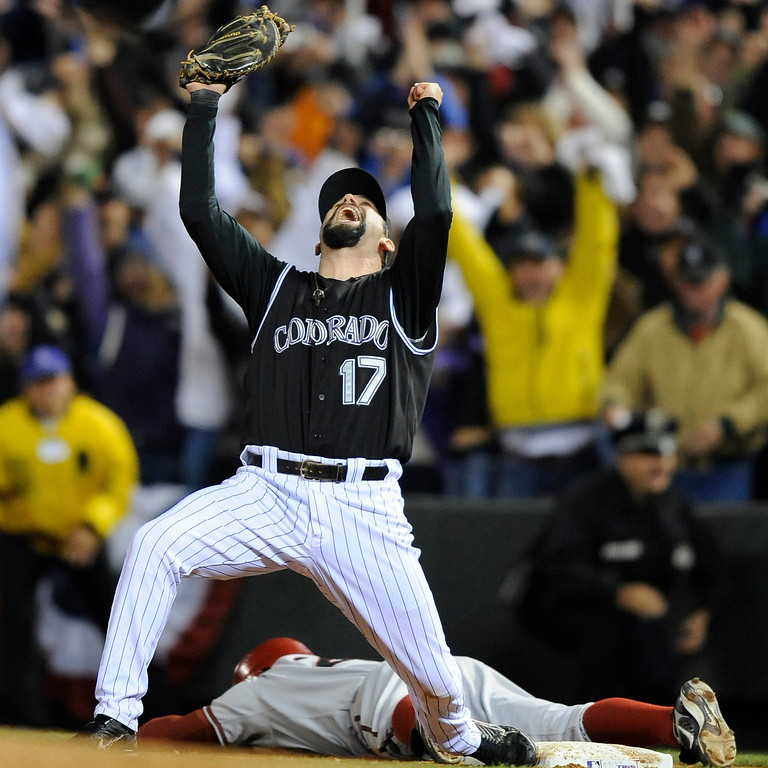 . Todd Helton celebrates the rockies win.Game Four of the National League Championship series between the Colorado Rockies and Arizona Diamondbacks at Coors Field in October, 2007.   The Denver Post,  John Leyba