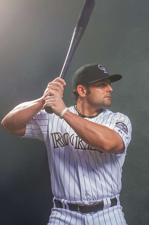 . Michael McKenry of the Colorado Rockies poses for a portrait during Photo Day at the Salt River Fields at Talking Stick on February 26, 2014 in Scottsdale, Arizona. (Photo by Rob Tringali/Getty Images)