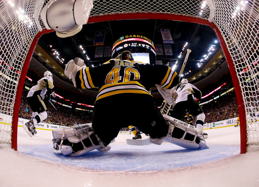 . Tuukka Rask #40 of the Boston Bruins tends net against the Pittsburgh Penguins during Game Three of the Eastern Conference Final of the 2013 NHL Stanley Cup Playoffs at the TD Garden on June 5, 2013 in Boston, Massachusetts.  (Photo by Bruce Bennett/Getty Images)