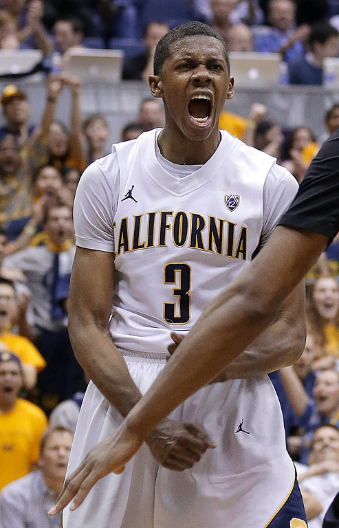 . California guard Tyrone Wallace reacts after scoring against Colorado during the second half of an NCAA college basketball game in Berkeley, Calif., Saturday, March 2, 2013. California won 62-46. (AP Photo/Jeff Chiu)
