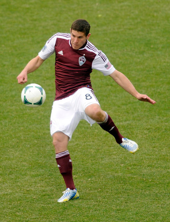 . Dillon Powers (8) of the Colorado Rapids with the ball in the second half. The Colorado Rapids tied the Portland Timbers 2-2 Saturday, March 30, 2013 at Dick\'s Sporting Goods Park in Commerce City.  Photo By Karl Gehring/The Denver Post)
