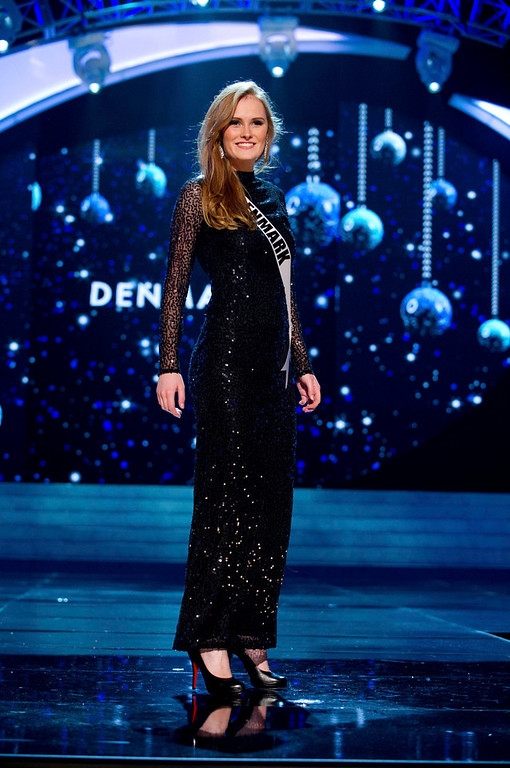 . Miss Denmark 2012 Josefine Hewitt competes in an evening gown of her choice during the Evening Gown Competition of the 2012 Miss Universe Presentation Show in Las Vegas, Nevada, December 13, 2012. The Miss Universe 2012 pageant will be held on December 19 at the Planet Hollywood Resort and Casino in Las Vegas. REUTERS/Darren Decker/Miss Universe Organization L.P/Handout