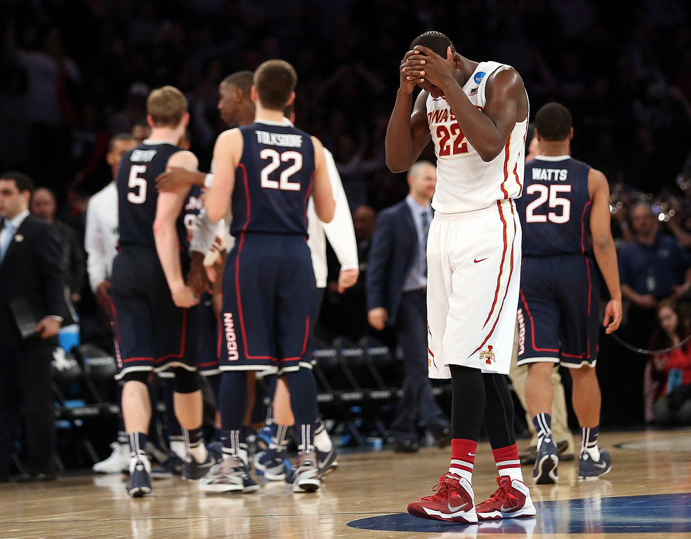 . Dustin Hogue #22 of the Iowa State Cyclones reacts late in the game against the Connecticut Huskies during the regional semifinal of the 2014 NCAA Men\'s Basketball Tournament at Madison Square Garden on March 28, 2014 in New York City.  (Photo by Bruce Bennett/Getty Images)