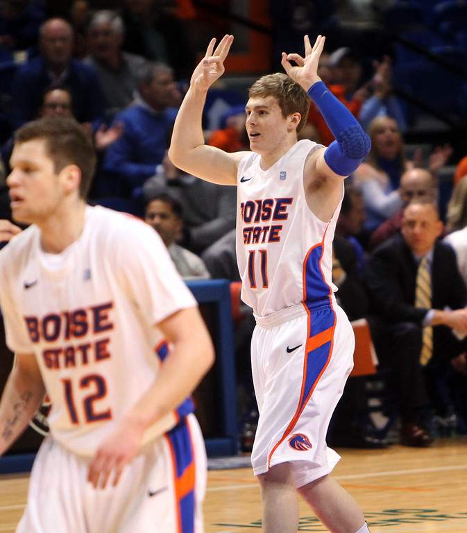 . Boise State\'s Jeff Elorriaga reacts after hitting a 3-pointer against Air Force during the first half of their NCAA college basketball game, Wednesday, Feb. 20, 2013, in Boise, Idaho. Boise State won 77-65. (AP Photo/The Idaho Statesman, Joe Jaszewski)  LOCAL TV OUT