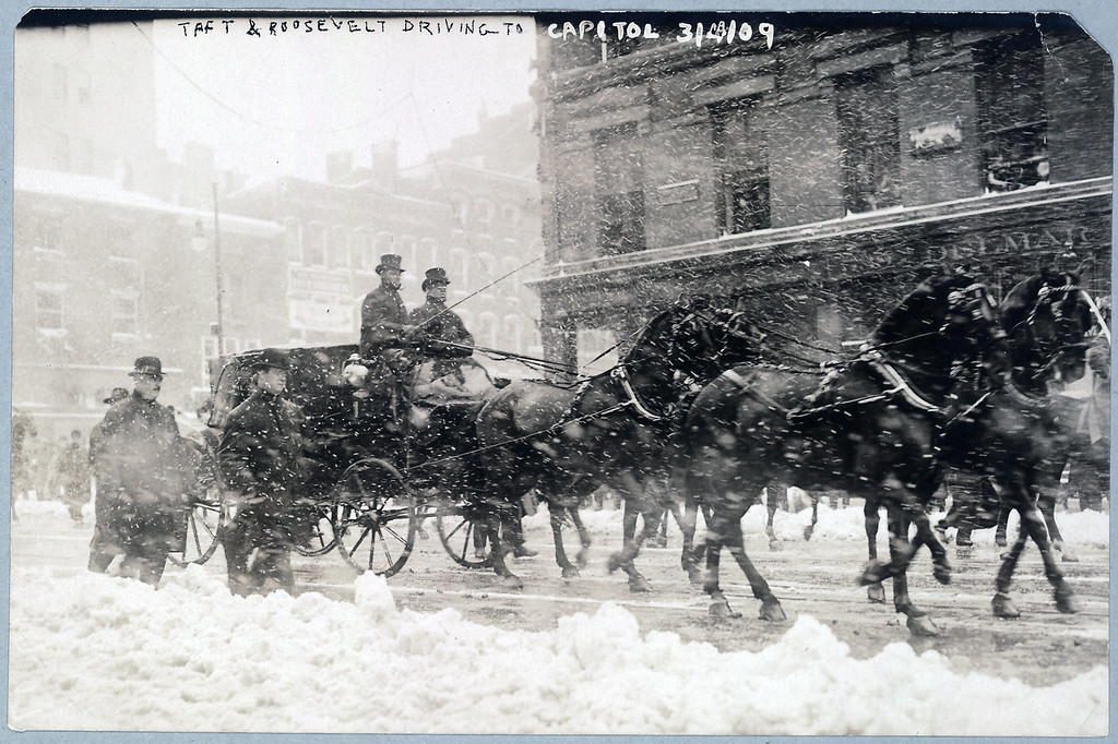 . Taft & Roosevelt driving to Capitol, Mar. 4, 1909 during Taft\'s inauguration. (Photo from The Library of Congress)