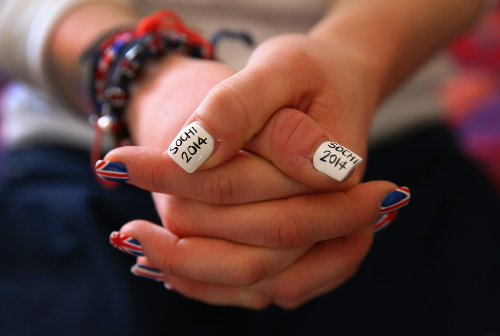 . Rebekah Wilson of the Great Britain Bobsleigh team shows her Sochi 2014 painted finger nails at the Athletes Village on the Rosa Khutor mountain village cluster prior to the Sochi 2014 Winter Olympics on February 3, 2014 in Sochi, Russia.  (Photo by Alex Livesey/Getty Images)