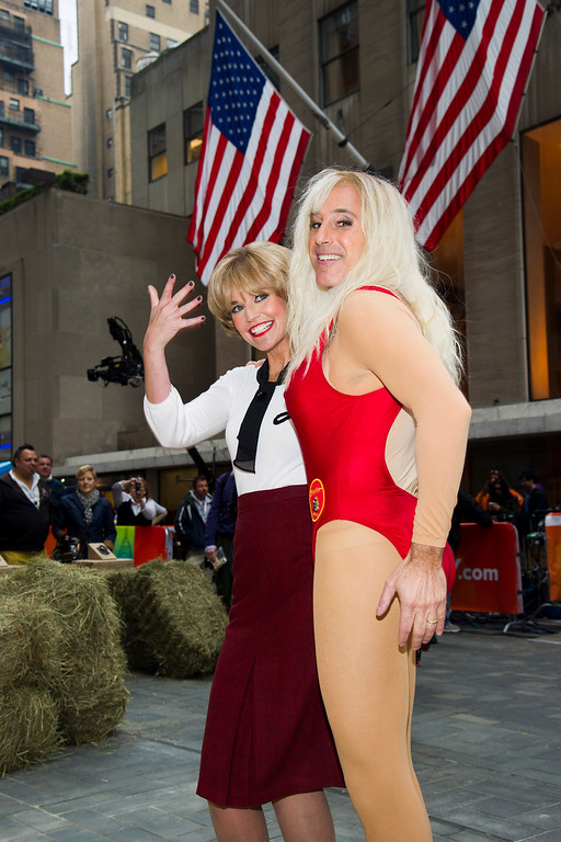 """. Savannah Guthrie, left, dressed as Laverne from the series \""""Laverne and Shirley,\"""" and Matt Lauer, dressed as C.J. Parker from \""""Baywatch\"""", appear on NBC\'s \""""Today\"""" Halloween show on Thursday, Oct. 31, 2013 in New York. (Photo by Charles Sykes/Invision/AP)"""