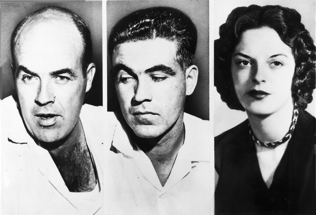 """. John W. Milam, 35, left, his half-brother Roy Bryant, 24 , centre, who go on trial in Sumner, Miss., Sept. 18, 1955, are charged with the murder of 14-year-old African American Emmett  L.Till from Chicago, who is alleged to have \""""wolf-whistled\"""" and made advances at Bryant\'s wife Carolyn, seen right. (AP Photo)"""