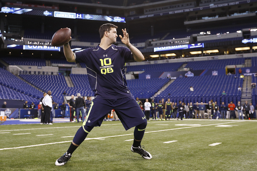. Former Alabama quarterback A.J. McCarron works out during the 2014 NFL Combine at Lucas Oil Stadium on February 23, 2014 in Indianapolis, Indiana. (Photo by Joe Robbins/Getty Images)