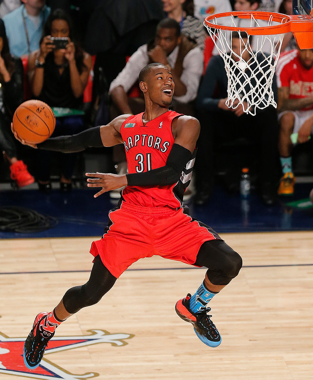. Terrence Ross of the Toronto Raptors participates in the slam dunk contest during the skills competition at the NBA All Star basketball game, Saturday, Feb. 15, 2014, in New Orleans.  (AP Photo/Bill Haber)