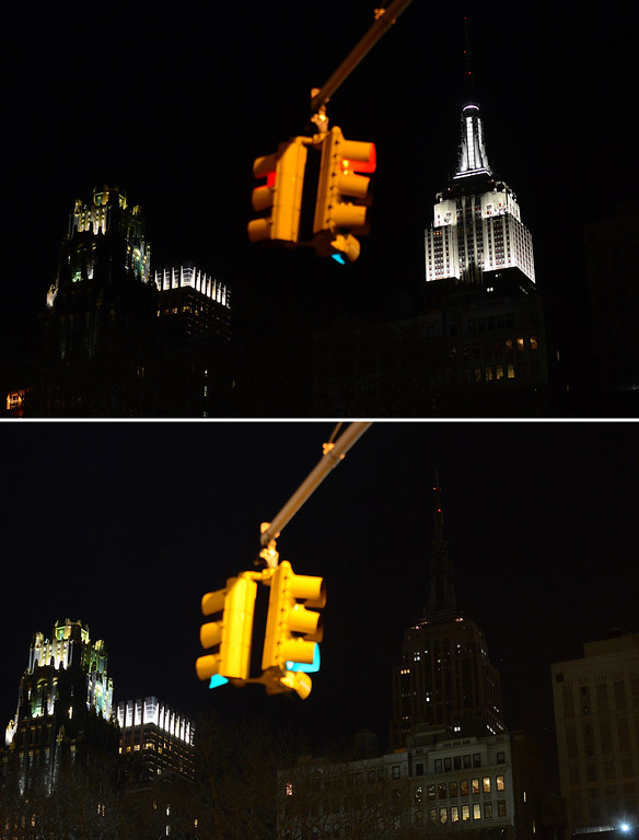 ". In this combo photo The Empire State Buidling stands dark (Bottom) as its lights were turned off too mark ""Earth Hour\"" in New York, March 23, 2013. More than 150 countries across the world, switched off their lights for an hour at 20:30 local time to support action to create a sustainable future for the planet. EMMANUEL DUNAND/AFP/Getty Images"