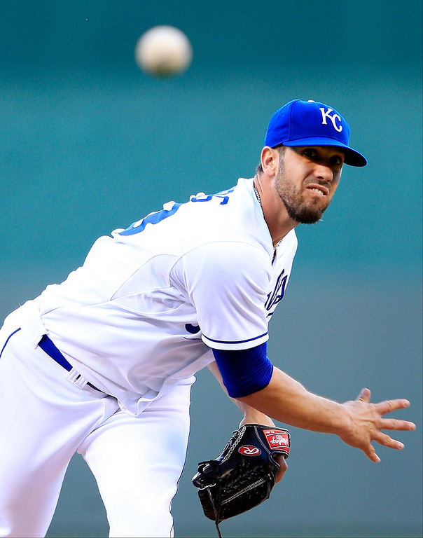 . Starting pitcher James Shields #33 of the Kansas City Royals warms up just prior to the game against the Colorado Rockies at Kauffman Stadium on May 13, 2014 in Kansas City, Missouri.  (Photo by Jamie Squire/Getty Images)