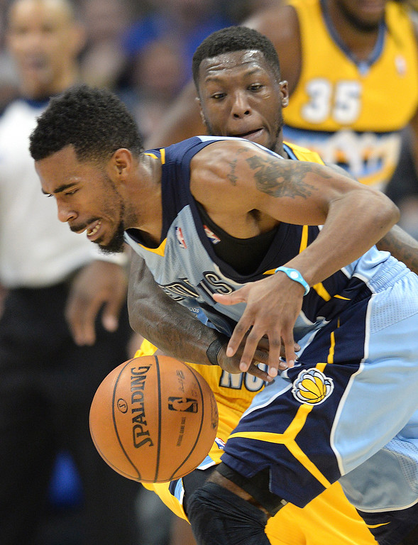 . DENVER, CO. - JANUARY 03:  Denver guard Nate Robinson poked the ball away from Memphis guard Mike Conley in the second half. The Denver Nuggets broke an eight-game losing streak with a 111-108 win over the Memphis Grizzlies at the Pepsi Center Friday night, January 3, 2014. Photo By Karl Gehring/The Denver Post