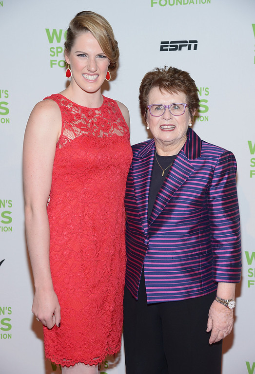 . NEW YORK, NY - OCTOBER 16:  Olympic gold medalist Missy Franklin (L) and Womens Sports Foundation founder Billie Jean King attend the 34th annual Salute to Women In Sports Awards at Cipriani, Wall Street on October 16, 2013 in New York City.  (Photo by Michael Loccisano/Getty Images for the Women\'s Sports Foundation)