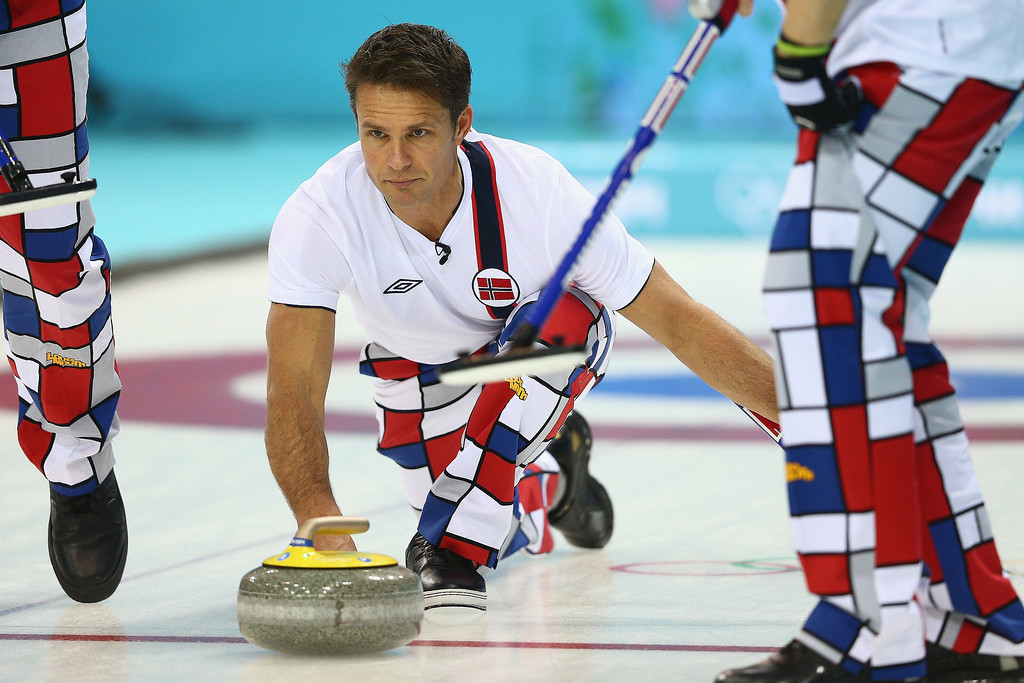 . Thomas Ulsrud of Norway in action during the round robin match against USA during day 3 of the Sochi 2014 Winter Olympics at Ice Cube Curling Center on February 10, 2014 in Sochi, Russia.  (Photo by Clive Mason/Getty Images)