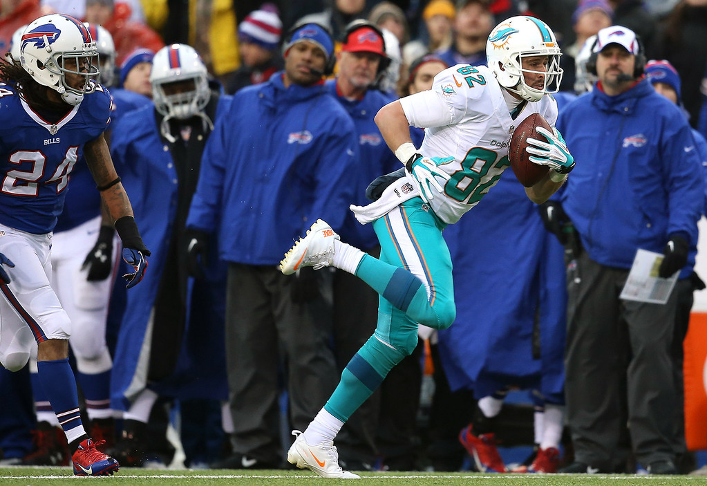 . Brian Hartline #82 of the Miami Dolphins runs after catching a pass during NFL game action against the Buffalo Bills at Ralph Wilson Stadium on December 22, 2013 in Orchard Park, New York. (Photo by Tom Szczerbowski/Getty Images)
