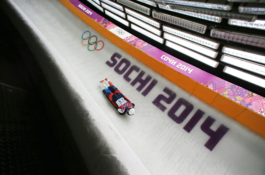 . Olga Potylitsina of Russia competes in Heat 3 in the women\'s Skeleton competition at the Sanki Sliding Center at the Sochi 2014 Olympic Games, Krasnaya Polyana, Russia, 14 February 2014.  EPA/FREDRICK VON ERICHSEN