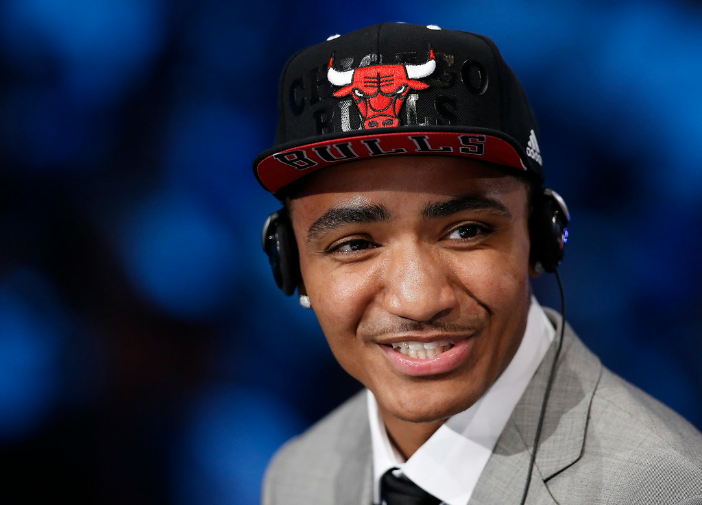 . Michigan State guard Gary Harris answers questions during an interview after being selected 19th overall by the Chicago Bulls and then traded to the Denver Nuggets during the 2014 NBA draft, Thursday, June 26, 2014, in New York. (AP Photo/Kathy Willens)