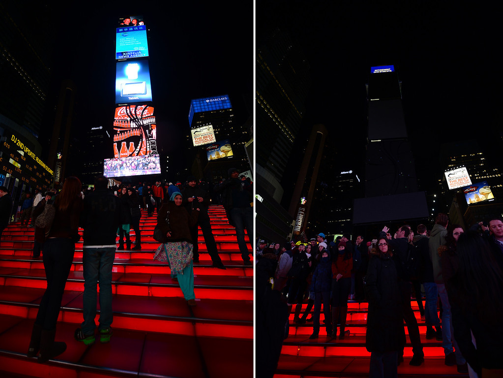 ". In this combo photo large electronic billboards stand dark (R) on Times Square as their lights were turned off too mark ""Earth Hour\"" in New York, March 23, 2013. More than 150 countries across the world, switched off their lights for an hour at 20:30 local time to support action to create a sustainable future for the planet. EMMANUEL DUNAND/AFP/Getty Images"