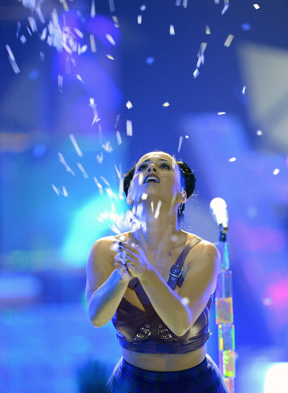 . Singer Katy Perry performs during the iHeartRadio Music Festival at the MGM Grand Garden Arena on September 20, 2013 in Las Vegas, Nevada.  (Photo by Ethan Miller/Getty Images for Clear Channel)