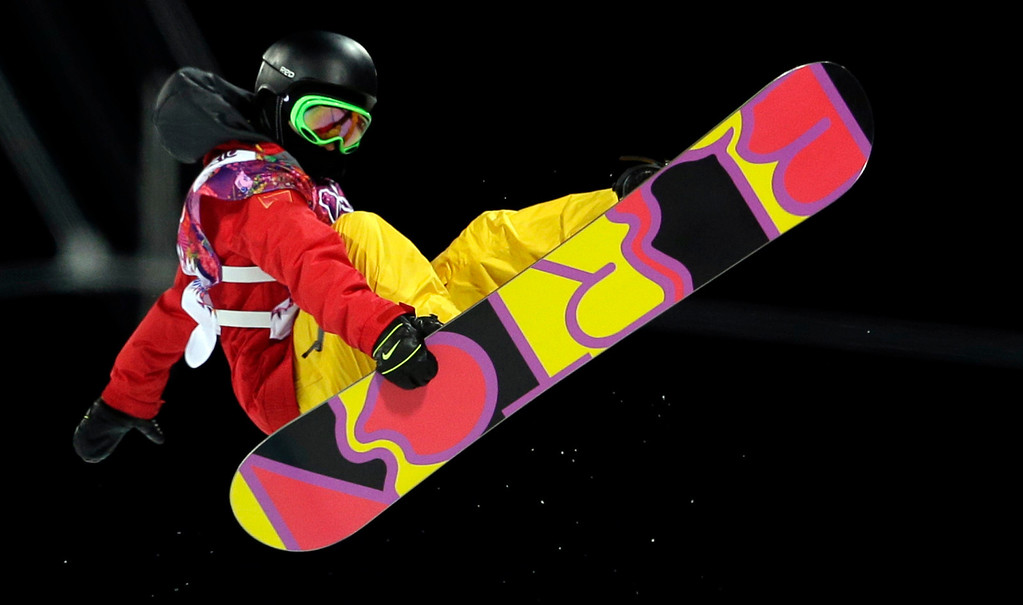 . China\'s Cai Xuetong competes during the women\'s snowboard halfpipe final at the Rosa Khutor Extreme Park, at the 2014 Winter Olympics, Wednesday, Feb. 12, 2014, in Krasnaya Polyana, Russia. (AP Photo/Felipe Dana)