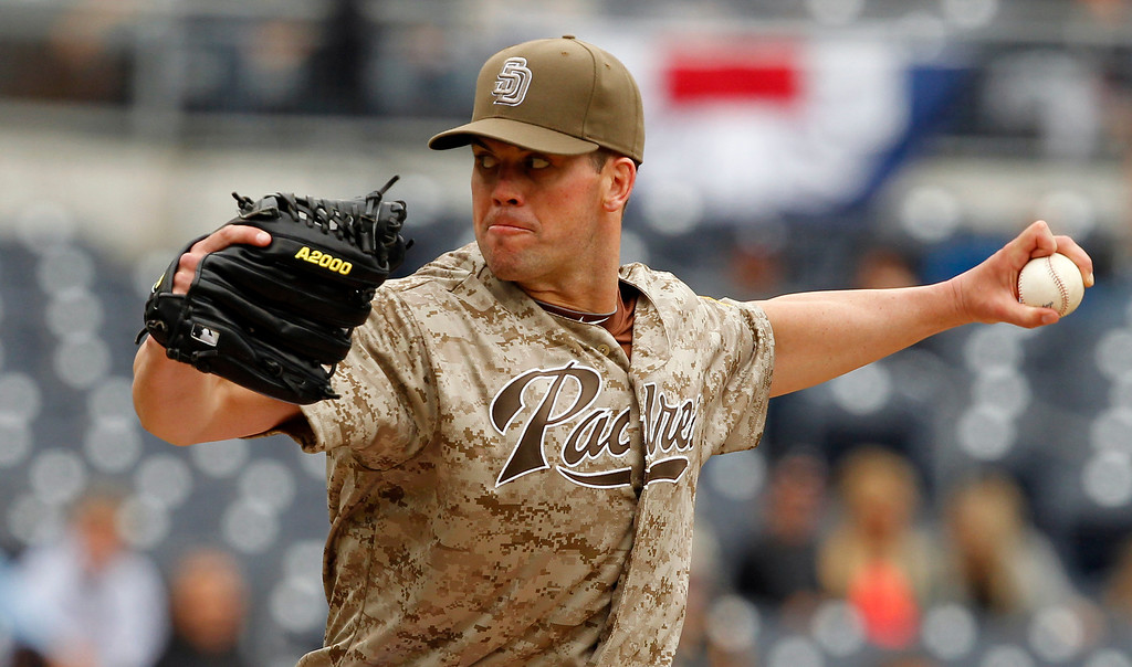 . San Diego Padres starting pitcher Clayton Richard pitches against the Colorado Rockies in the third inning of a baseball game Sunday, April 14, 2013, in San Diego. Rockies won the game 2-1.   (AP Photo/Alex Gallardo)