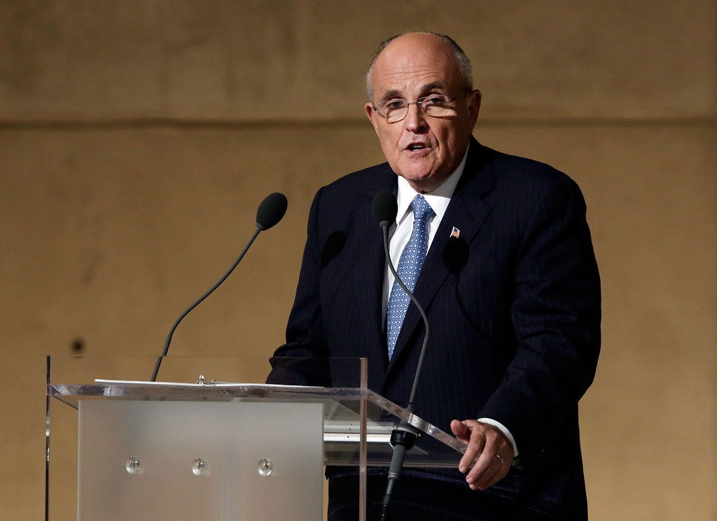 . Former New York Mayor Rudolph Giuliani speaks during the dedication ceremony in Foundation Hall at the National September 11 Memorial Museum at ground zero May 15, 2014 in New York City.  (Photo by Richard Drew-Pool/Getty Images)