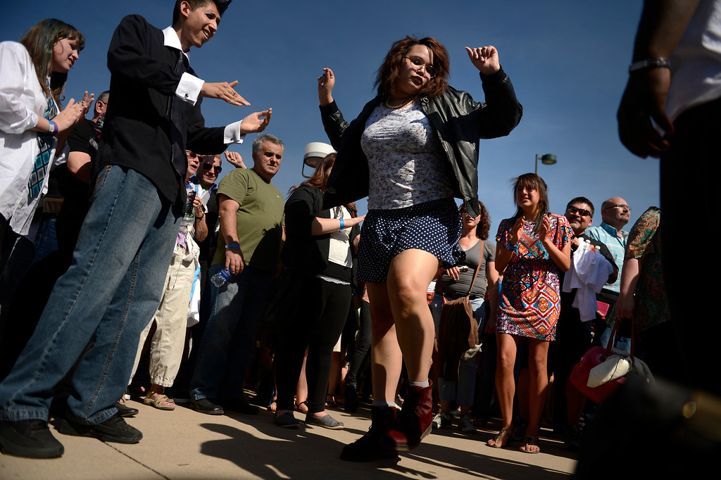 ". Tannika Paul 19 of Brush dancing for the cameras before going inside to take their chances on Fox\'s ""X-Factor\"" reality TV singing competition at the Denver Coliseum May 14, 2013 Denver, Colorado. (Photo By Joe Amon/The Denver Post)"