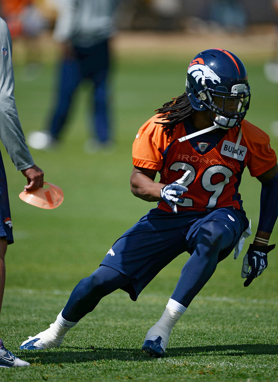 . Denver Broncos Bradley Roby (29) runs through drills during OTAs June 16, 2014 at Dove Valley. (Photo by John Leyba/The Denver Post)