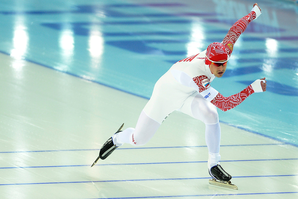 . Russia\'s Denis Kovel finishes his second race during the speed skating men\'s 500-meter at Adler Arena. Sochi 2014 Winter Olympics on Monday, February 10, 2014. (Photo by AAron Ontiveroz/The Denver Post)