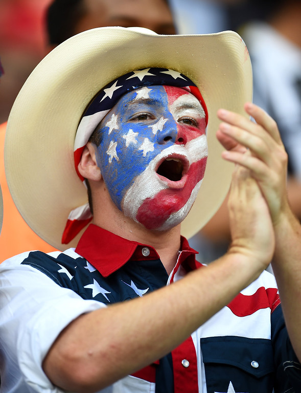 . A fan of the United States looks on prior to the 2014 FIFA World Cup Brazil Group G match between the United States and Portugal at Arena Amazonia on June 22, 2014 in Manaus, Brazil.  (Photo by Christopher Lee/Getty Images)