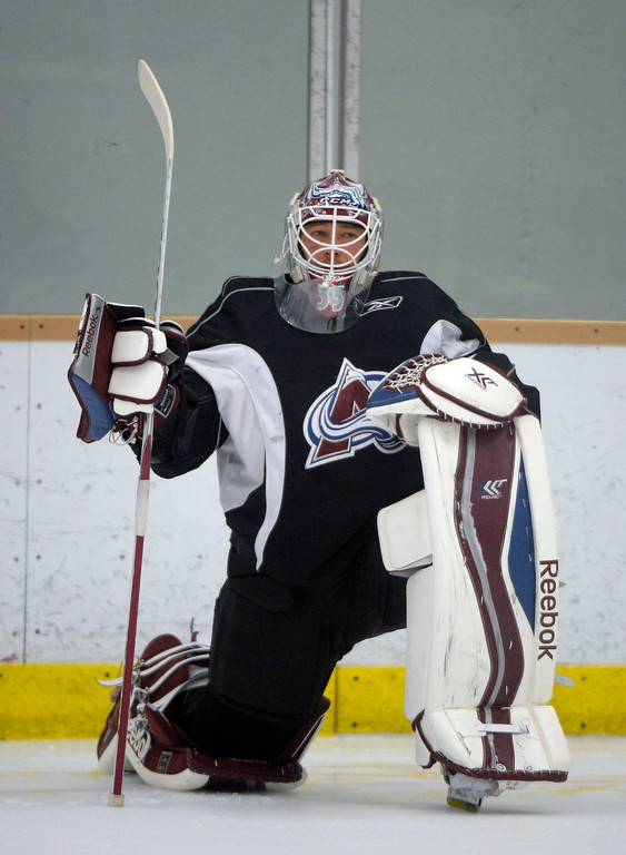 . Colorado Avalanche G J.S. Giguere (35) stretches before practice September 9, 2013 at Family Sports Ice Arena. (Photo By John Leyba/The Denver Post)