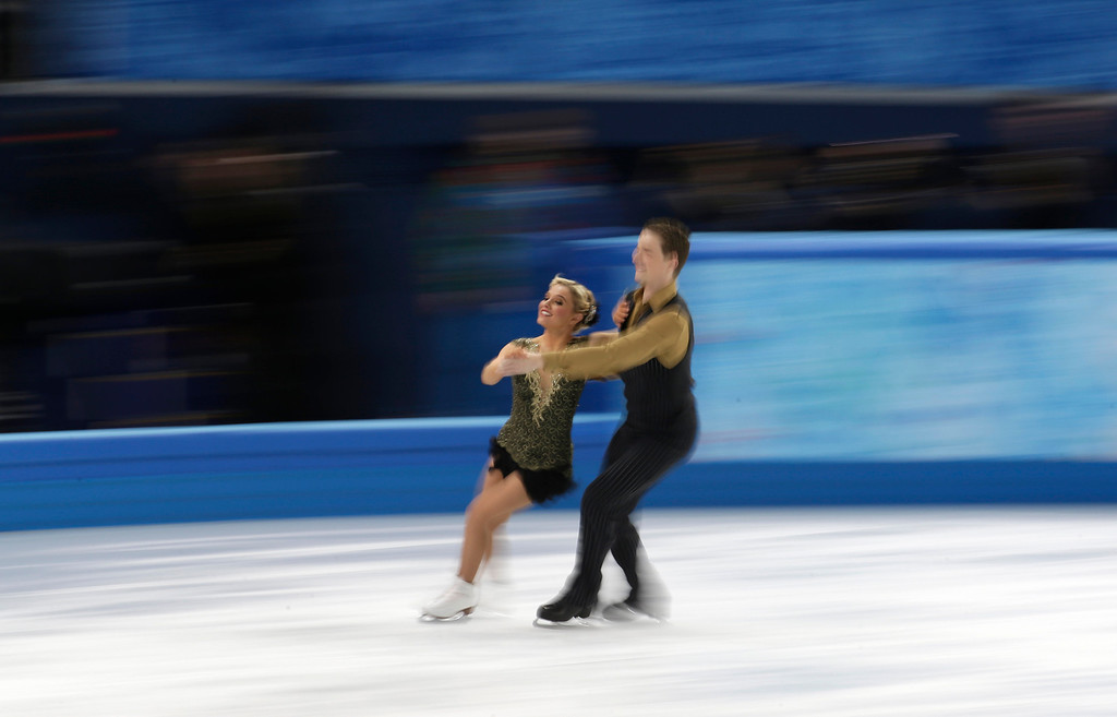 . Danielle O\'Brien and Gregory Merriman of Australia compete in the ice dance short dance figure skating competition at the Iceberg Skating Palace during the 2014 Winter Olympics, Sunday, Feb. 16, 2014, in Sochi, Russia. (AP Photo/Bernat Armangue)