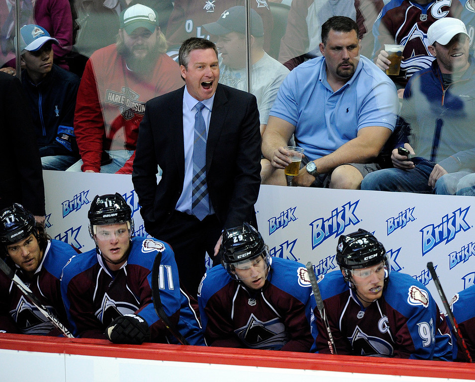 . DENVER, CO. - OCTOBER 02: Colorado head coach Patrick Roy encouraged his players in the first period. The Colorado Avalanche hosted the Anaheim Ducks at the Pepsi Center Wednesday night, October 2, 2013. Photo By Karl Gehring/The Denver Post