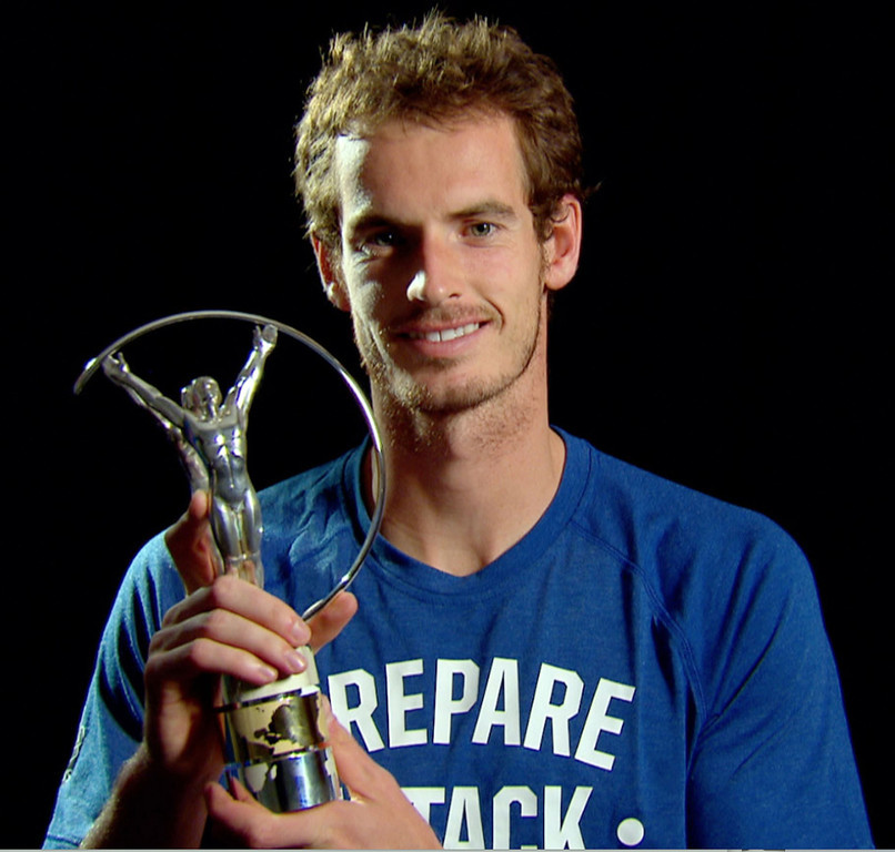 . Tennis player Andy Murray of Great Britain poses with the award for Laureus World Breakthrough of the Year which was announced during the 2013 Laureus World Sports Awards at Theatro Municipal do Rio de Janeiro on March 11, 2013 in Rio de Janeiro, Brazil.  (Photo by Getty Images For Laureus)