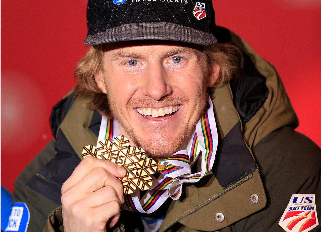 . Gold medal winner US Ted Ligety poses with his medals on the podium during the medal awards ceremony for the men\'s Giant slalom at the 2013 Ski World Championships in Schladming, Austria on February 15, 2013. ALEXANDER KLEIN/AFP/Getty Images