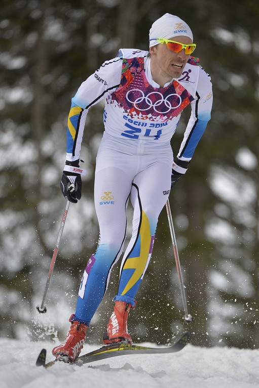 . Sweden\'s Johan Olsson competes to win silver in the Men\'s Cross-Country Skiing 15km Classic at the Laura Cross-Country Ski and Biathlon Center during the Sochi Winter Olympics on February 14, 2014 in Rosa Khutor near Sochi.  AFP PHOTO / ODD ANDERSEN/AFP/Getty Images