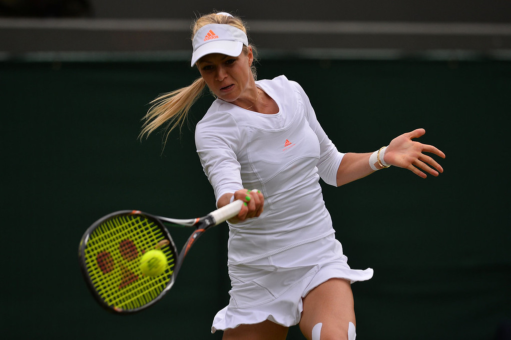 . Russia\'s Maria Kirilenko returns against Britain\'s Laura Robson during their women\'s first round match on day two of the 2013 Wimbledon Championships tennis tournament at the All England Club in Wimbledon, southwest London, on June 25, 2013. Robson won 6-3, 6-4.  CARL COURT/AFP/Getty Images