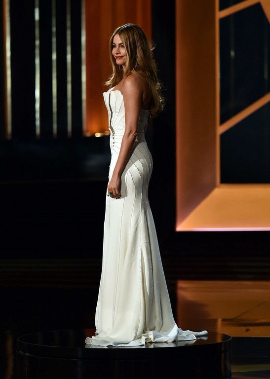 . Actress Sofia Vergara speaks onstage at the 66th Annual Primetime Emmy Awards held at Nokia Theatre L.A. Live on August 25, 2014 in Los Angeles, California.  (Photo by Kevin Winter/Getty Images)